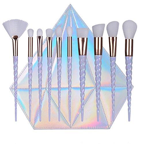 QITAO® 10 Pcs Licorne Conception Poignée Forme Maquillage Pinceaux Outils Ensemble de Cheveux Blanc Synthétique Fondation Brosse À Paupières Fard À Joues avec Diamant Sac