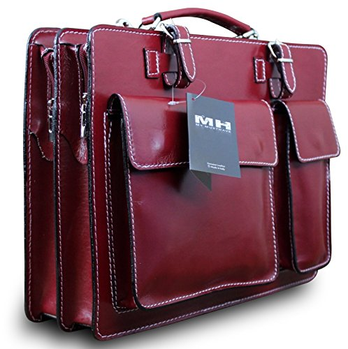 College Tasche Aktenkoffer Schule Tasche Lehrer Tasche Messenger Leder Tasche Vintage Rot, Farbe:Grün Rot Weiß