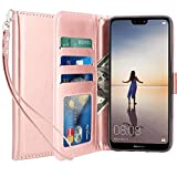 LK Custodia per Huawei P20 Lite/Huawei Nova 3e, Case in Pelle PU di Lusso Portafoglio con Fessure di Carta Cover Protettiva - Oro Rosa