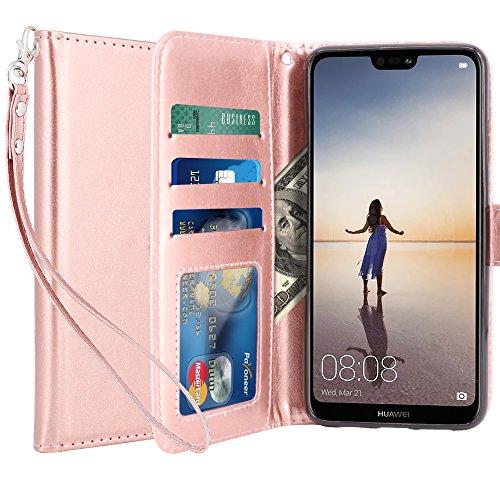 Custodia Huawei P20 Lite / Huawei Nova 3e, LK Case in Pelle PU di Lusso Portafoglio con Fessure di carta Cover Protettiva - Oro rosa