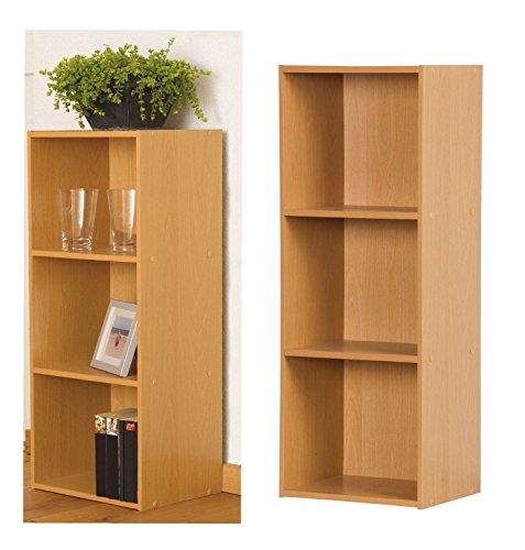 2 Schubladen Cube (Holz Einheit Bücherregal Cube Aufbewahrung freistehend Einlegeböden 1234Etagen Bücherregal, beech, 3 Ablagefächer)