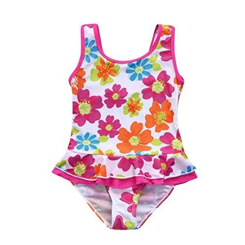 Costume da bagno 1 pezzo, byste bambina bikini ragazze spiaggia trikini costumi da bagno stampa floreale pizzo laminato senza maniche fionda one piece swimsuit coordinati beachwear (bianca, 24 mesi)