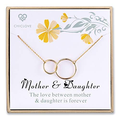Chiclove MOM Töchter Halskette, Sterling Silber DREI 2 Unendlichzeichen Kreise, Mütter Tag Schmuck Geschenk - 3 Stück Mutter-töchter-halskette,