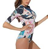 Domorebest Damen Kurzarm-Einteiler Rashguard, UV-Schutz Badebekleidung Surf-Badeanzug