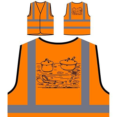 Küchenelemente Personalisierte High Visibility Orange Sicherheitsjacke Weste r123vo