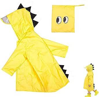 gotyou Kids Raincoat,Dinosaur Raincoat Bambini Impermeabile Pioggia Poncho Cute Unisex, Poncho Impermeabile per Bambino, Poncho Antipioggia Cappello Allargato Bambino, Poncho Impermeabile(Medium)
