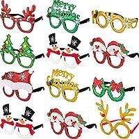 Boao 12 Pares de Marco de Gafas de Navidad 3D Favores de Fiesta Gafas para Fotos de Adultos Mujeres una Talla para la Mayoría de Gente