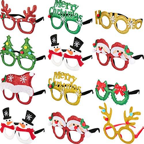 Boao 12 Paar Weihnachten Brillen Rahmen 3D Neuheit Brillen Weihnachtsfeier Requisiten Gläser für Erwachsene Damen Fotos Fotografie Eine Größe Passen die Meisten Menschen