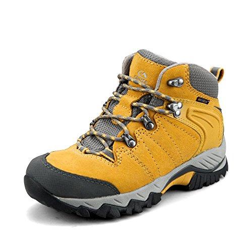 Clorts Damen Mid Wanderschuhe Wanderer Leder wasserdicht Leichte Außen Backpacking Trekking-Schuh 7.5 M US Gelb -