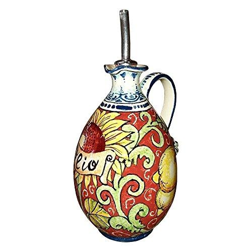 ceramiche-darte-parrini-ceramica-italiana-artistica-ampolla-olio-decorazione-limoni-e-girasole-dipin