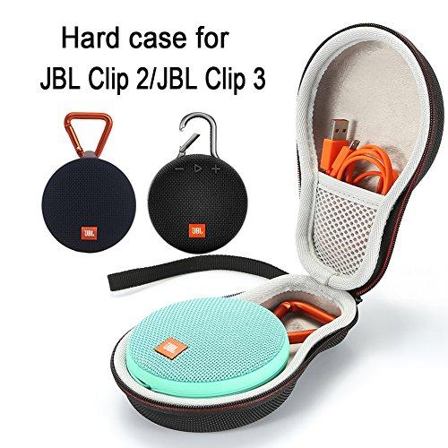 L3 Tech Sacoche de Transport Rigide pour Transporter JBL Clip 2 Haut-Parleur Portable sans Fil Bluetooth. Convient au câble USB -Black