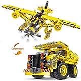 Supertop 2 In 1 Transformers Lastwagen Flugzeug Spielzeug Transport Lkw Montage Baustein Warenkorb Flugzeug Educational Montiert Spielzeug