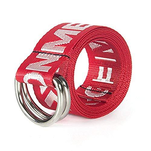 Cintura da uomo cintura joker uomo per decorativa uomini casual moderna e donne studenti moda doppio anelli canvas straps (color : gules, size : one size)
