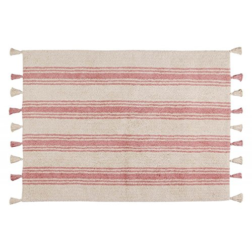 Lorena Canals Alfombra Lavable de Rayas, algodón, Coral Rosa, 120x 160x 30cm