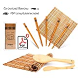 Bamboo Sushi Rolling Mat, Carbonized Sushi Making Kit, Beginner Sushi Mat, Includes 2 Rolling Mats - 5 Pairs Chopsticks - Paddle - Spreader - Beginner's Guide (PDF), Roll on!