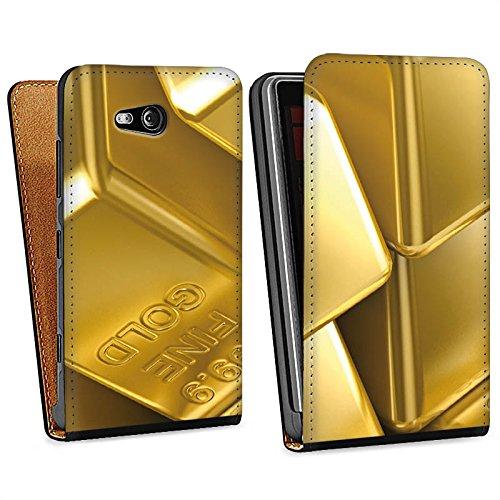 DeinDesign Nokia Lumia 820 Tasche Schutz Hülle Walletcase Bookstyle Goldbarren Gold Barren