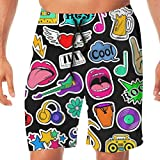 Jeroty Mens Beach Shorts Colorful Fun Set Cartoon 80s-90s Comic Style Swim Trunks Summer Casual Male Swimsuit with Mesh Lining