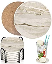 Drink Coasters with Holder, Absorbent Coaster Sets of 6, Marble Style Ceramic Drink Coaster for Tabletop Prote
