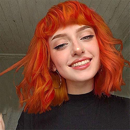Für Frau Haare Rote Kostüm - BUWIGS Mode Orange rot Haar Perücken zum Mädchen Frau Cosplay Party Kostüm Kurz Natürlich Wellig Synthetik Perücken 14