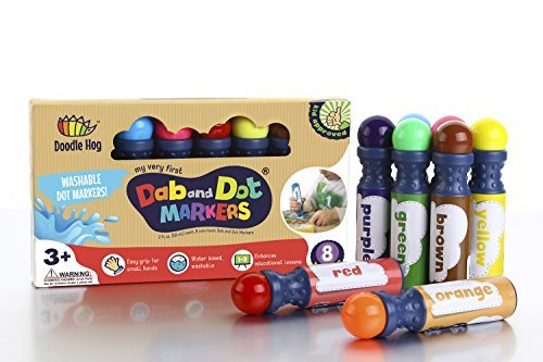 Dab and Dot Markers Set Of 8 Washable Paint Dauber / Markers /Dabbers For Learning Alphabets, Numbers, Math, Speech & Art Educational Activities In Preschool Kindergarten And Homeschool