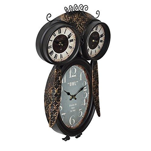 [en.casa]® Reloj de pared decorativo diseño búho con pantalla analógica - 32 x 8 x 52 cm - de varios colores - cristal