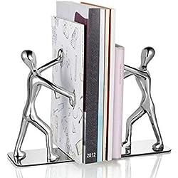 Fashion Creative decorativo de acero inoxidable pequeñas humanoide Bookend Par Kung Fu Kungfu hombre libro organizador Metal sujetalibros sujetalibros libro Archivo casa oficina biblioteca decoración regalo de cumpleaños, color A