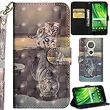 Ooboom Motorola Moto E5/G6 Play Hülle 3D Flip PU Leder Schutzhülle Handy Tasche Case Cover Ständer mit Trageschlaufe Magnetverschluss für Motorola Moto E5/G6 Play - Katze Tiger
