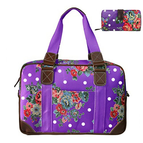 Miss Lulu , Damen Tote-Tasche Flower Purple Set