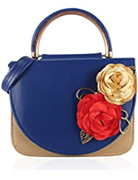 Voaka Women's Sling Bag (Available In Black-Blue,Blue-Red,Brown-Blue,Brown-Red,Tan-Black,Red-Blue,Red-White (Blue-Red)