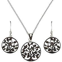 Silverly Set De Collar Y Pendientes En Plata 925 Árbol De La Vida Con Marcasitas Simuladas, 46 Cm