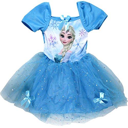 Frozen Die Eiskönigin Kleid Kurzarm mit Glitzer in verschiedenen Farben & Größen (128, Hellblau)