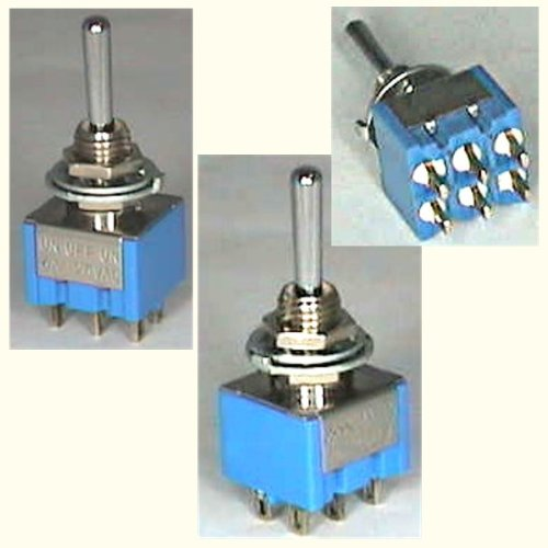 Preisvergleich Produktbild Miranda Kippschalter MS 500H - 2 polig [MS500], Lötösen, Metallhebel, blaues Gehäuse, 6A, 125 VAC, Abmessungen: 13x12,6x10,4 mm [Kipp-Schalter, 10 Stück]