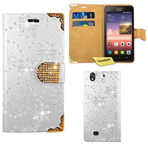 Huawei Ascend G620S Handy Tasche, FoneExpert® Bling Luxus Diamant Hülle Wallet Case Cover Hüllen Etui Ledertasche Premium Lederhülle Schutzhülle für Huawei Ascend G620S / Huawei Honor 4 Play (Weiß)