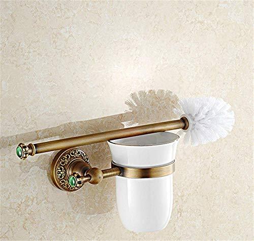 Einweg-wc-reiniger (QiXian Toilettenbürste Abfalleimer Set Klassische Massivmessing-Wc-Bürstenhalter Stein-Wc-Reiniger Halter Geschnitzte Bronze-Toilettenbürstenhalter mit Becher-Set Stark Robust)