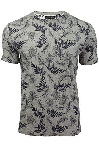 Herren T-Shirt Blätterdruck von Brave Soul kurzärmlig Grau Marl