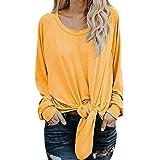 TianWlio Damen O-Ausschnitt Lässiger Bluse Knot Tie Front Langarm T-Shirt mit Rundhalsausschnitt Lässige Tops Shirt (XL, Gelb)
