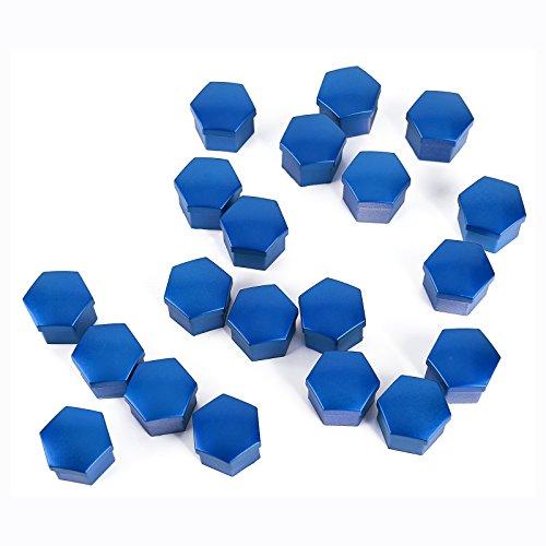 SurePromise 20x Hexagonal Cache ecrou Effet Bleu Taille 17MM Capuchon vis Boulon Plastique