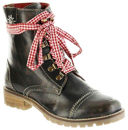 Bergheimer Trachtenschuhe Stiefel braun glatt Leder Stiefelette Damen Schuhe Tauplitz