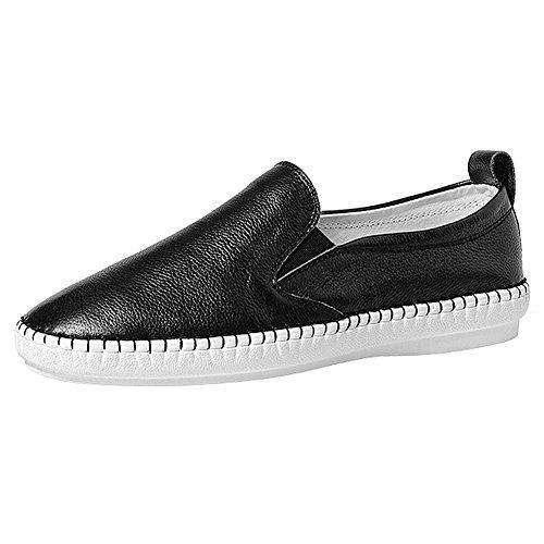 Shenn Femmes Filles Confort Authentique Cuir École Flâneurs Chaussures Doux Infirmière Appartements Chaussures noir1