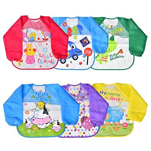 Ärmel, Schürze (Towinle 6er Pack Baby Lätzchen mit Ärmeln Wasserdicht Baby Fütterung Lätzchen Unisex Baby Schürze (Baby Lätzchen))