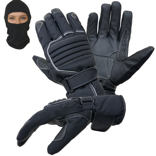 PROANTI Motorradhandschuhe Regen Winter Motorrad Handschuhe im Set mit Sturmhaube