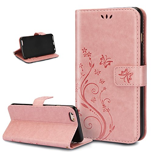 Coque iPhone 6S Plus,Etui iPhone 6S Plus, Coque iPhone 6 Plus,Etui iPhone 6 Plus, ikasus® Coque iPhone 6S Plus / 6 Plus Bookstyle Étui Housse en Cuir Case, Gaufrage Art Fleur de Papillon Image Etui Ho Petit papillon:Rose