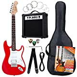 Rocktile Bangers Power Pack Komplettset E-Gitarre mit Single Coil und Humbucker Pickups Rot (Verstärker, Tasche, Kabel, Gurt, Plecs, Tremolo, Ersatzsaiten und Schule mit CD/DVD)