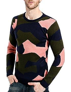 Hombre Suéteres de Punto de Manga Larga de Jersey Slim Fit Casual Knitwear Jumper Sudadera Invierno