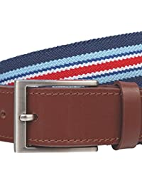 LINDENMANN Mens Stretch Leather Belt / Mens Belt, textile and full grain leather, with gift box, blue-red-white