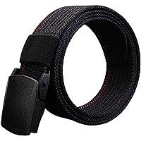 Luufan Cinturón de Nylon Ajustable cinturón Militar Hombres tácticos Cintura con Hebilla de plástico (Black)