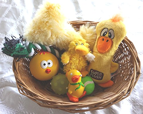 EASTER GIFT BASKET FILLED WITH EASTER DOG TOYS FOR SMALL DOGS AND PUPPIES OVER 4 MONTHS