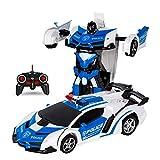 ZMH RC Car Transformation Robots Modèle De Véhicule De Sport Robots Jouets Cool Deformation Voiture Enfants Jouets Cadeaux pour L'âge 3 4 5 6 7 8 9 Ans Garçons,Blueandwhite