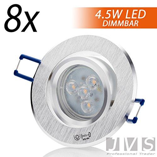 Set di faretti LED da incasso STAR SILBER, rotondi, 230 V SMD 4,5 W, a intensità variabile, luce bianca calda, con attacco GU10 e cavo da 15 cm, in alluminio spazzolato moderno set da 8