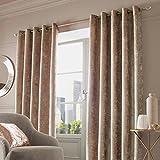 Par de cortinas Sienna de terciopelo aplastado con ojales, poliéster, Natural Champagne Beige, 117 x 228,6 cm